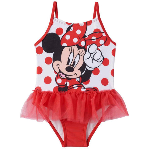 Girls one-piece swim suit featuring Minnie Mouse and white and red polka dot design with matching red tulle tutu