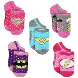 Five pack of girls socks in pink, blue, purple, and gray featuring DC Comics Justice league characters Superman, Batman, the Flash, and Wonder Woman