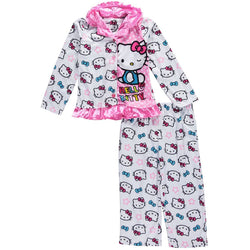 Girls matching pajama set with coat style robe top featuring Princess Hello Kitty and matching sleep pants