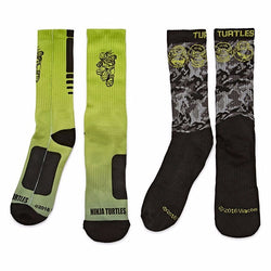 2 pack of Teenage Mutant Ninja Turtle crew socks in vibrant neon yellow and black or black and white