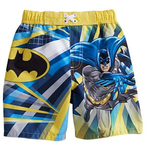 Vivid yellow, blue, and white Batman toddler boys swim trunks with elastic faux tie waist and Batman logo.