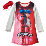 Miraculous Lady Bug Big Girls' Sleepwear Gown W/ Eye Mask