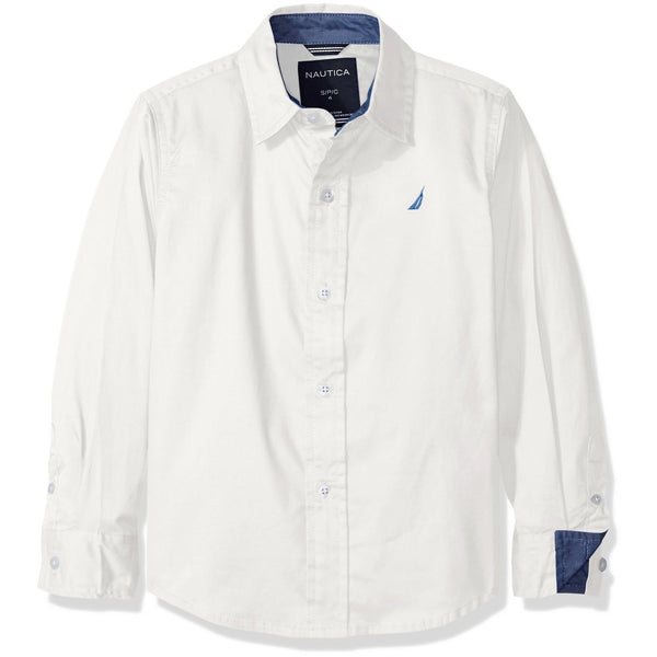 Nautica Boys' Solid Twill Long Sleeve Woven Shirt