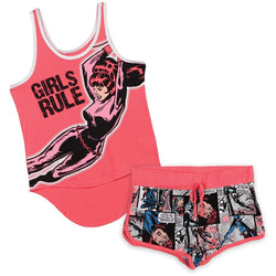"Matching pajama set for girls with pink Black Widow tank top shirt with ""Girls rule"" text and matching comic style pink shorts with elastic waistband."