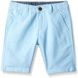 Boys oxford short with side pockets in light blue