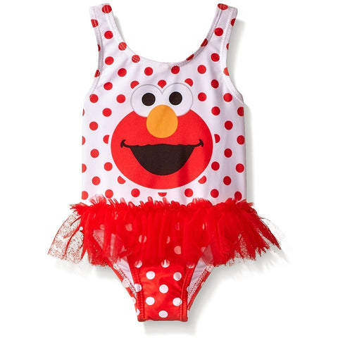Girls white and red polka dot one piece swimsuit featuring Elmo and a red tutu