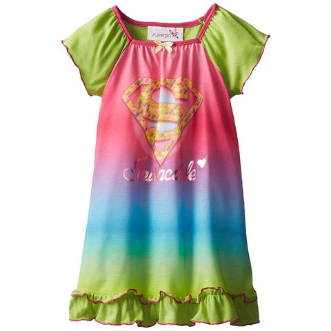 Girls rainbow hue short-sleeve nightgown with Superman logo