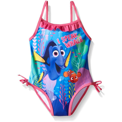 Little girls one-piece swimsuit with blue and pink design featuring Dory and Nemo characters with pink hip accent bows and collar ruffle