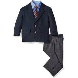 Boys three piece set with collared blue button-up long-sleeve shirt, black sportscoat blazer jacket and dress pants, with matching red tie