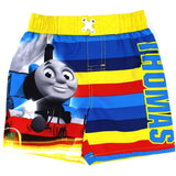 Boys yellow, red, and blue Thomas the Tank Engine swim trunks