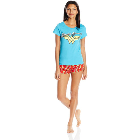 Matching pajama set with blue short-sleeve t-shirt featuring Wonder Woman logo and matching red PJ shorts