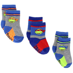 Boys three pack socks set with gray and blue socks featuring Teenage Mutant Ninja Turtles Socks