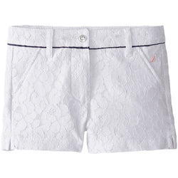 Girls white lace shorts with contrast waist piping and side pockets