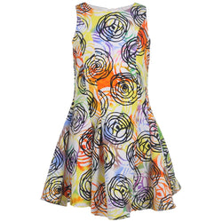 White and colorful floral pattern knee-length sleeveless dress