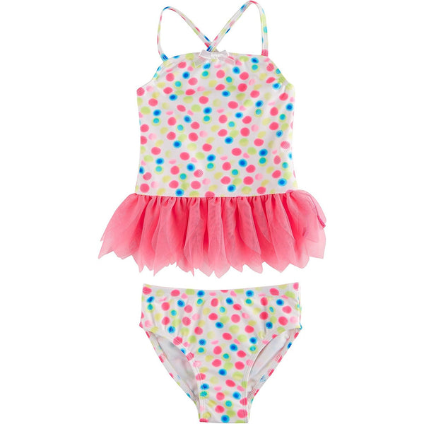 Girls two piece tankini swim suit with white top with colorful polka dot design and pink tulle tutu with matching white and colorful polka dot bikini bottoms