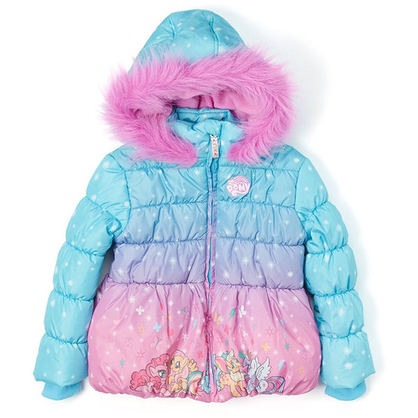 Pink and blue My Little Pony winter puffer coat with neon pink faux fur lining the hood