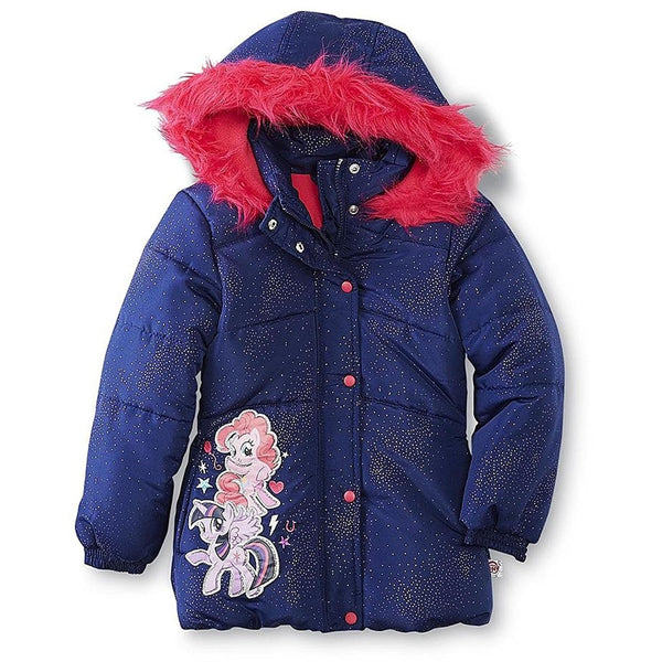Navy blue winter coat with pink faux fur lined hood and My Little Pony graphic