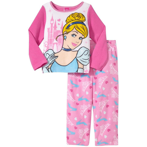 Matching pajama set for girls with white Cinderella PJ shirt with pink long sleeves and matching allover print princess pajama pants