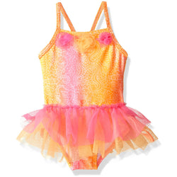 Golden yellow and pink girls one-piece swimsuit with floral batik accents and tutu