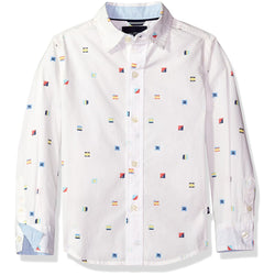 Boys collared long sleeve button up dress shirt with multi color small patterned print