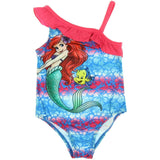 Girls one-piece swimsuit featuring Little Mermaid Ariel with pink ruffle straps and hibiscus design