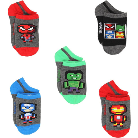 5 pack Marvel Avengers no-show socks in gray featuring Spiderman, Ironman, Captain America, and Hulk