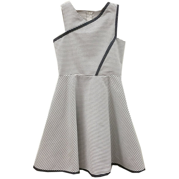 Sleeveless knee-length dress with faux-wrap design in white, gray and black stripes