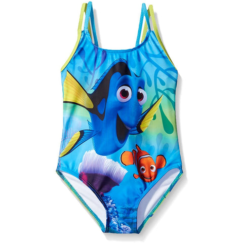 Blue one-piece girls swim suit featuring Finding Dory and Nemo