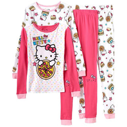 Girls four piece Hello Kitty pink pajama pants and long-sleeve top set with girl's white with allover Hello Kitty print matching long-sleeve shirt and pants