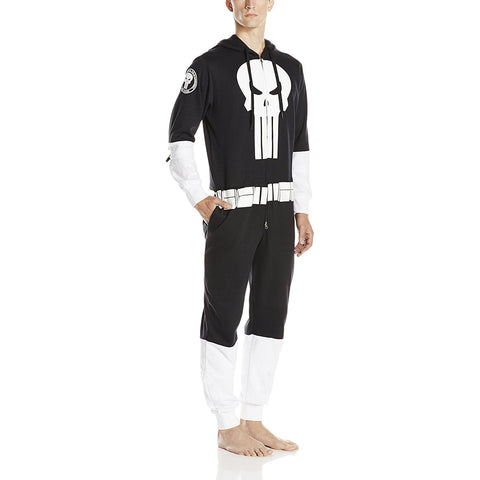Model wearing all black Punisher jumpsuit with white accents, utility belt design, and Punisher logo