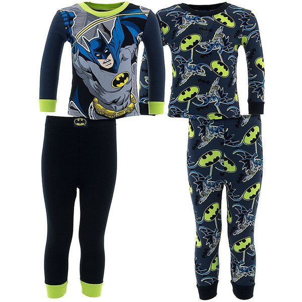 2 pack of long-sleeve cotton pajamas that grow in the dark with allover Batman logo print pants and shirt with matching black pants and matching long-sleeve Batman character shirt