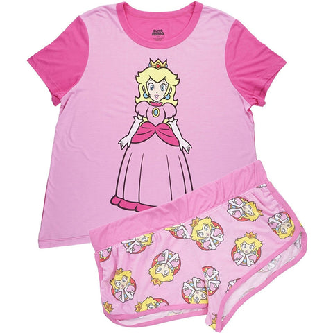 Womens two piece pajama set featuring long style short-sleeve Princess Peach nightgown and matching shorts in plus size