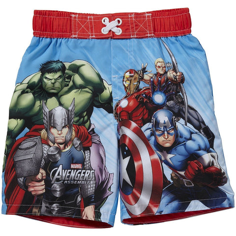 Marvel Avengers swim trunks featuring The Hulk, Captain America, Thor, Hawkeye, and Ironman with red, white, and blue detail.