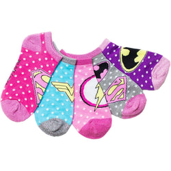Girls 5 pack of ankle socks featuring Justice League characters such as Wonder Woman, Supergirl, the Flash, and Batman logos