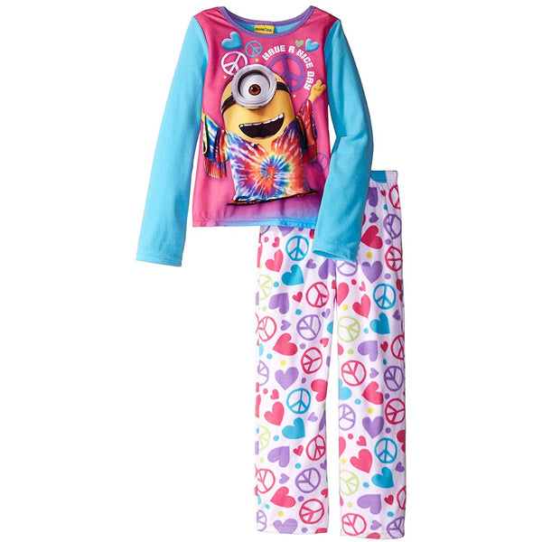 Girls matching pajama set with long-sleeve tie-dye pattern Minions shirt and allover print peace and heart design pants