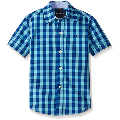 Boys short-sleeve button-up collared polo t-shirt in checkered blue plaid design