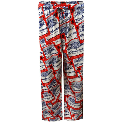 Red pajama pants with allover Budweiser logo print in white and blue