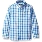 Boys long-sleeve, collared, button-up dress shirt in blue and white striped square pattern