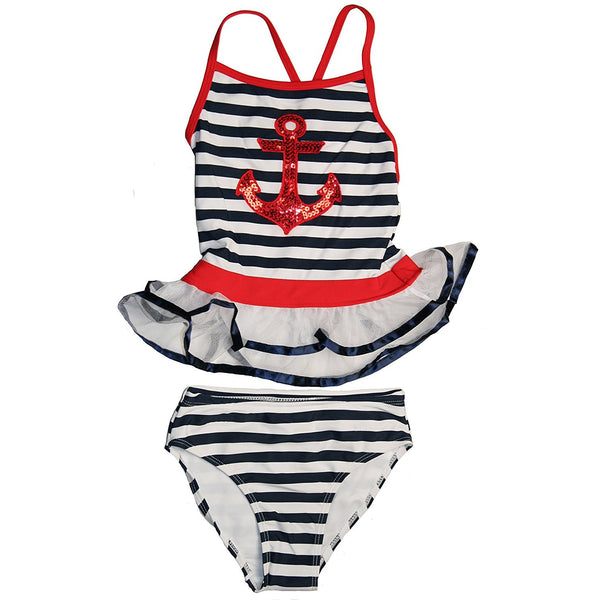 Navy blue and white striped two piece tankini swimsuit with ruffled top with red stripe and sequin anchor design on top and matching striped bikini bottoms