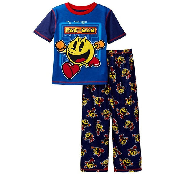 Pajama set with blue Pac-Man short-sleeve t-shirt and black pants with allover yellow Pac-Man print.