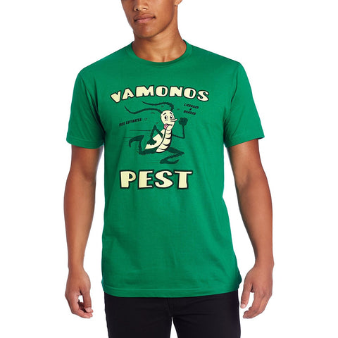 Kelly green short-sleeve crew neck t-shirt featuring Vamanos Pest logo screen printed on front from tv show Breaking Bad