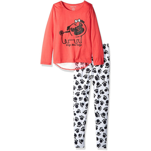 Girls two piece pajama set with red long-sleeve shirt with pug design and matching white leggings pants with allover black paw print design