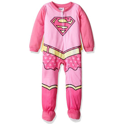 Pink and yellow onesie blanket sleeper with Supergirl logo and full-length zipper