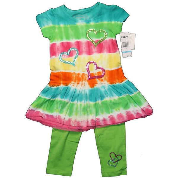 Matching two piece short-sleeve tie-dye tunic shirt with embellished heart design in colorful pattern with matching solid green cotton pants.