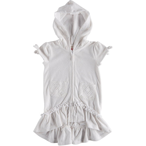 White terry cloth swim cover-up with hood and full front zipper