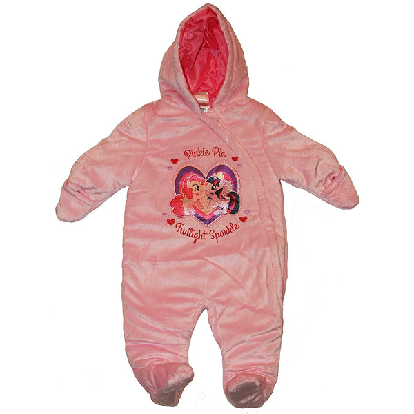 Light pink hooded fleece pram with My Little Pony embroidered on front
