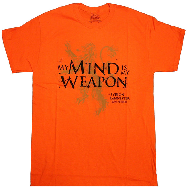 Orange short-sleeve crew neck t-shirt with My Mind Is My Weapon quote by Tyrion Lannister from HBO's Game of Thrones TV show