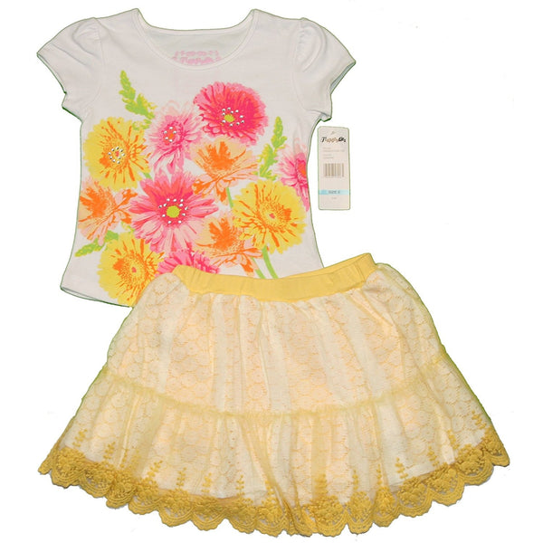 Girls two piece matching skirt set with white short-sleeve t-shirt with colorful floral print and matching yellow shorts with white lace skirt overlay