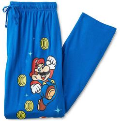 Men's blue lounge pajama pants featuring Mario character and coins