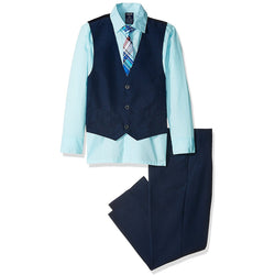 Boys three-piece vest set with light blue, collared, button-up dress shirt, navy blue vest, navy blue pants, and matching clip-on tie